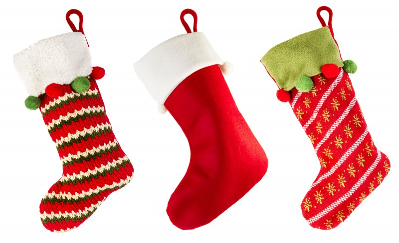 an image of three holiday stockings