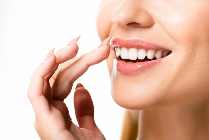 an up-close look at a woman's straighter teeth
